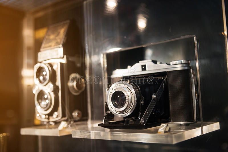 Old photography camera by vintage color. Old photography cameras for decoration, vintage color process stock image