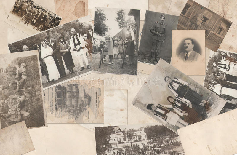Old photos. Antique background with old photos collection royalty free stock image