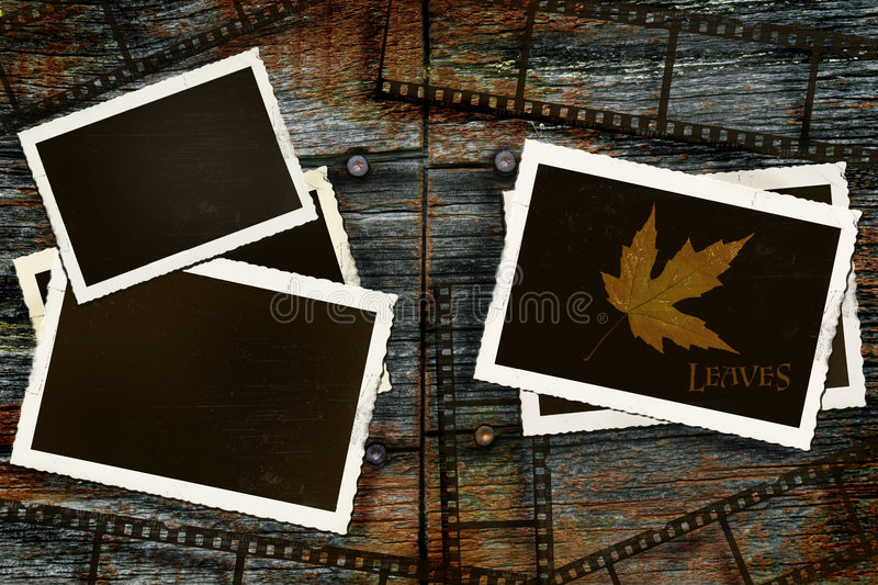 Old photos and film on rustic barn wood vector illustration