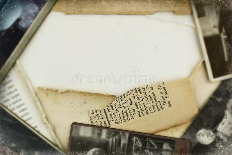 Old photos and papers frame background royalty free stock photo