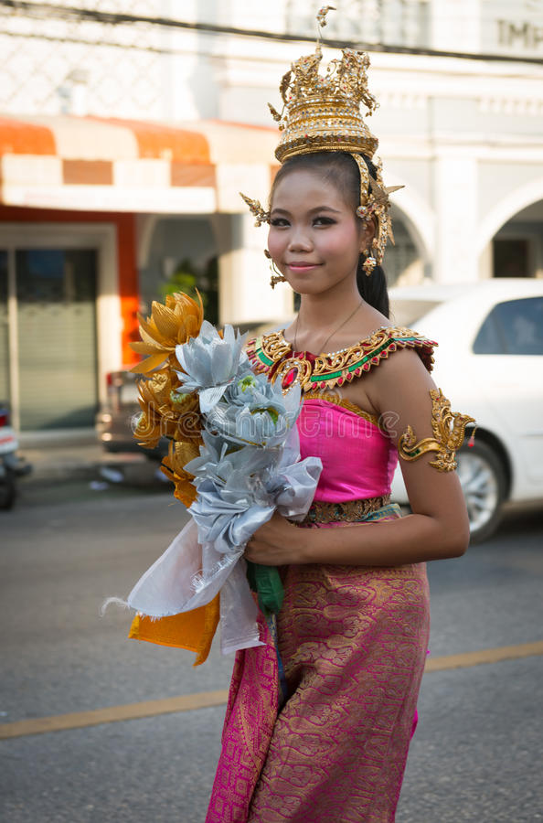 Old Phuket town festival. PHUKET, THAILAND - 07 FEB 2014: Beautiful girl take part in procession parade of annual old Phuket town festival royalty free stock image