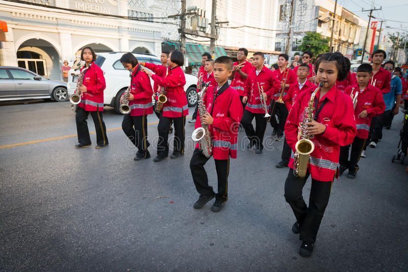 Old Phuket town festival. PHUKET, THAILAND - 07 FEB 2014: Musicians take part in procession of annual old Phuket town festival royalty free stock image