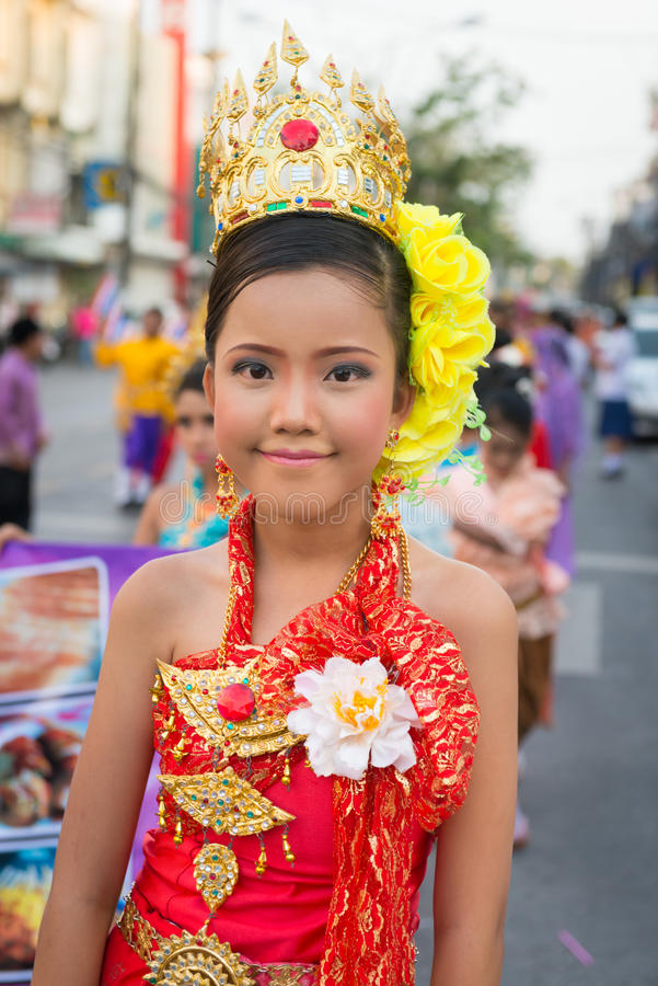 Old Phuket town festival. PHUKET, THAILAND - 07 FEB 2014: Beautiful girl takes part in procession parade of annual old Phuket town festival stock photos