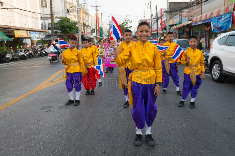 Old Phuket town festival. PHUKET, THAILAND - 07 FEB 2014: Children take part in procession parade of annual old Phuket town festival stock photos