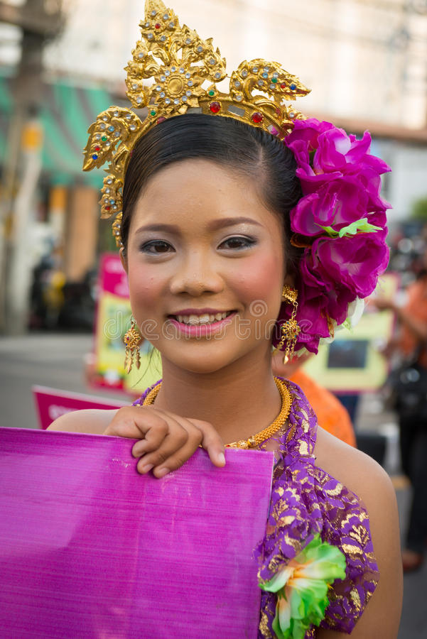 Old Phuket town festival. PHUKET, THAILAND - 07 FEB 2014: Beautiful girl takes part in procession parade of annual old Phuket town festival royalty free stock photography