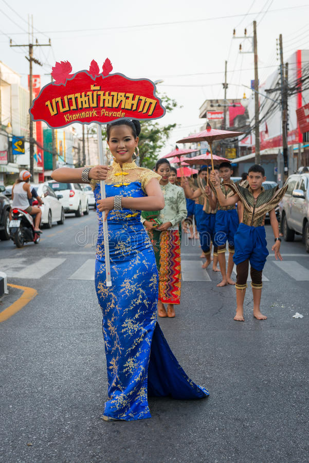 Old Phuket town festival. PHUKET, THAILAND - 07 FEB 2014: Phuket town residents take part in procession parade of annual old Phuket town festival stock photos