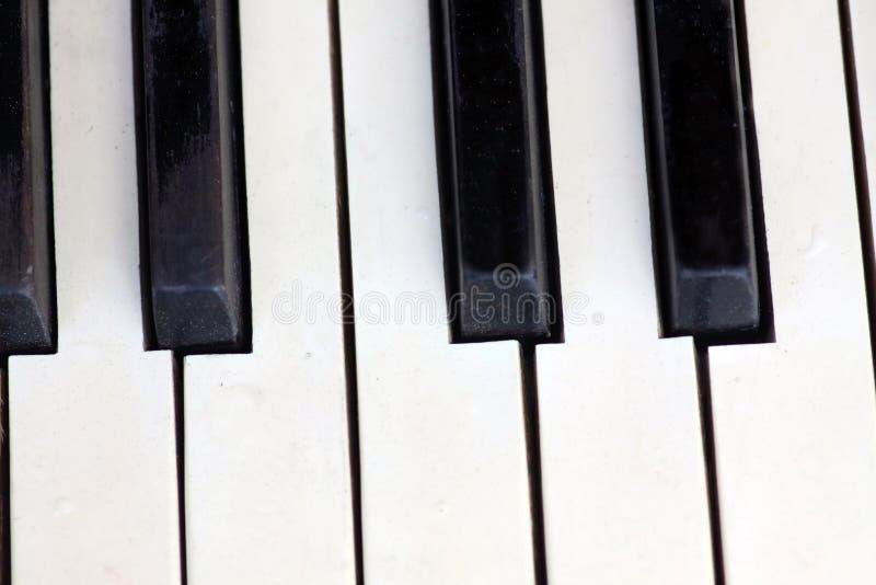 Old piano keyboard close up - flat lay royalty free stock photo
