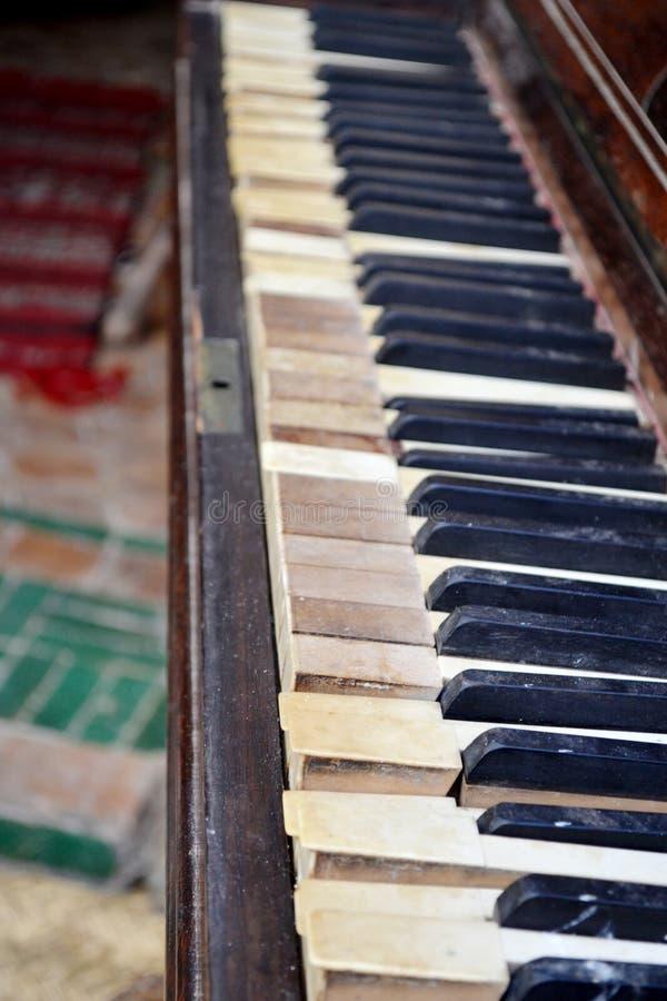Old piano keys. royalty free stock photo