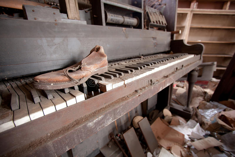 Old piano and shoe stock photo image of house debris for Classic house piano