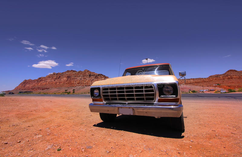 Old pick up. Truck in the middle of desert royalty free stock photo