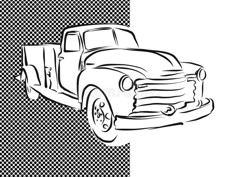 Old Pickup Truck Hand Drawn Artwork royalty free illustration