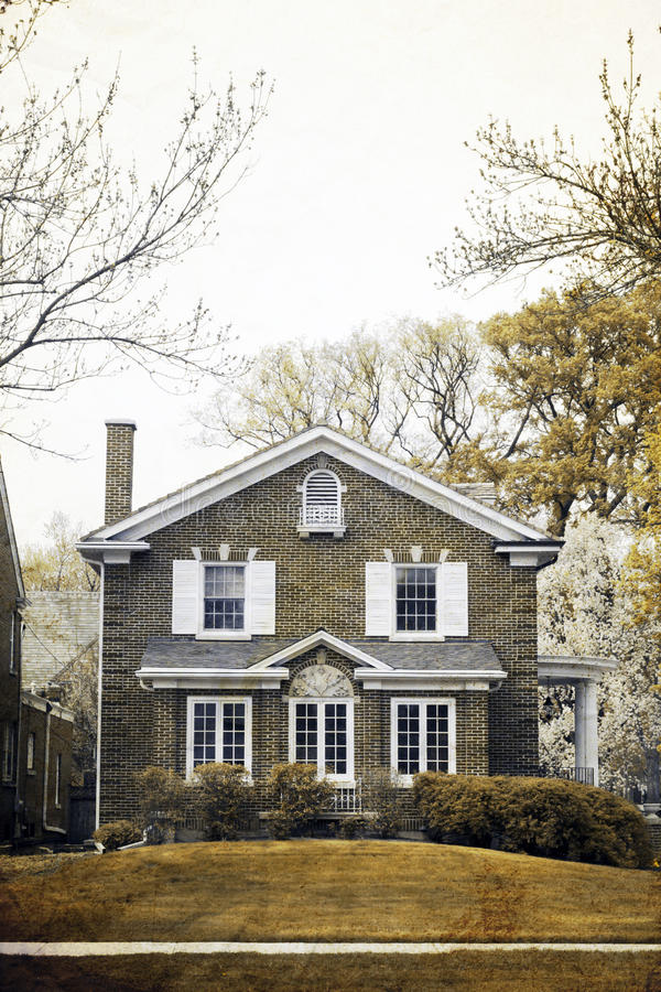 Old Picture Effect - Traditional Home in spring. Old Picture Effect - Traditional American Home in spring stock images