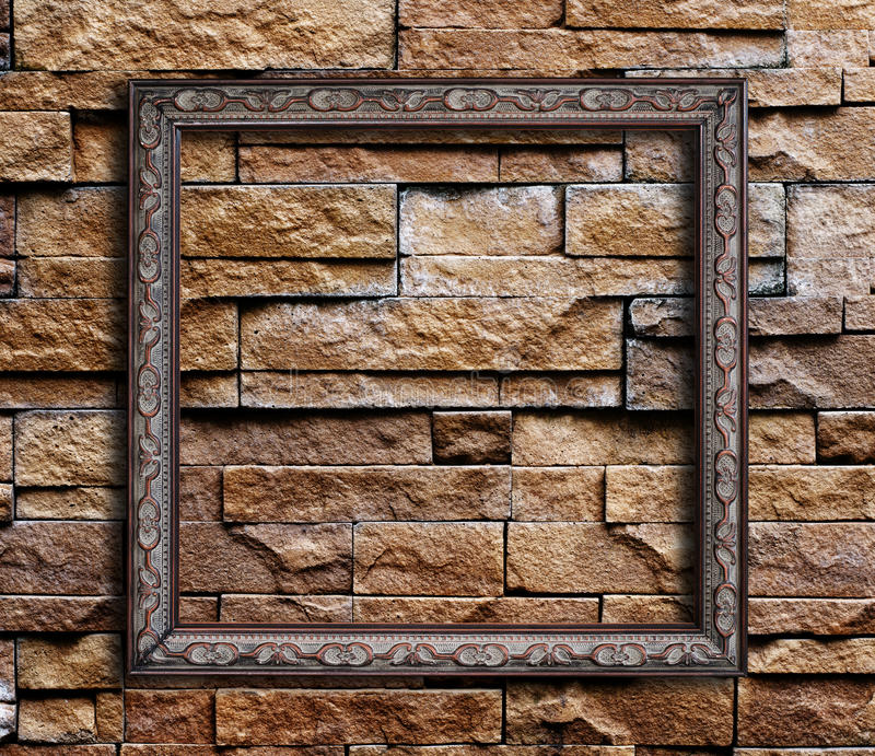 Old Picture frame. Old Picture frame on on grunge wall stock photos