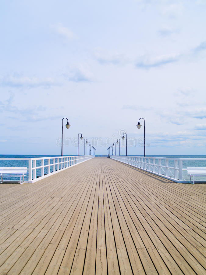 Old pier. On Baltic sea, Orlowo, Gdynia, Poland stock photography