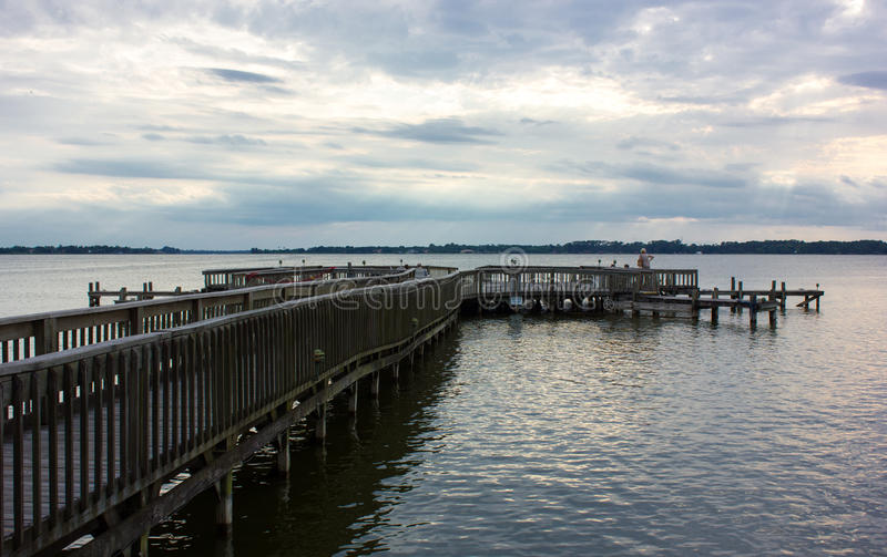 An old pier in Florida. An old woody pier in Mount Dora - a small town in Florida stock image