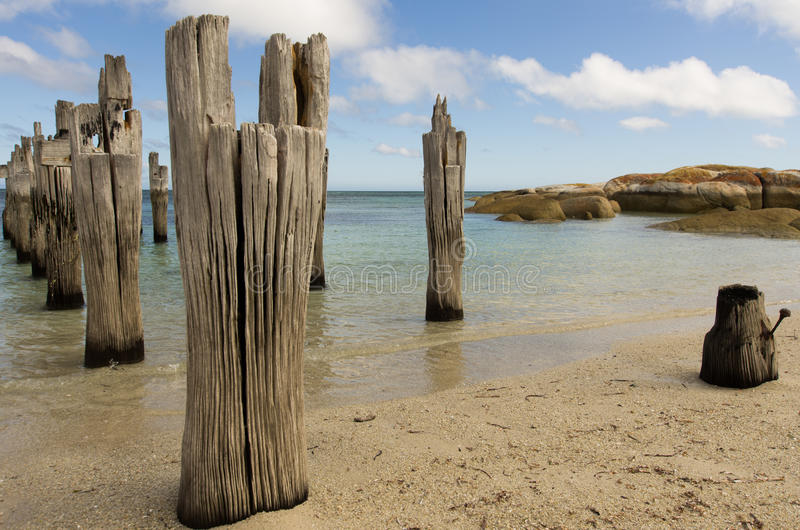 Old pier, Lillies BEach, Flinders Island, Tasmania royalty free stock image