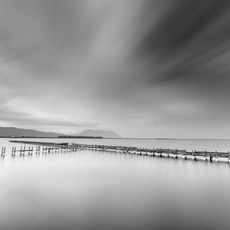 The Old Pier in Missolonghi lagoon royalty free stock photography