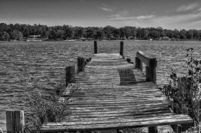 The Old Pier. Old unused pier at Harris Landing, Lake Greenwood, Greenwood SC stock photos