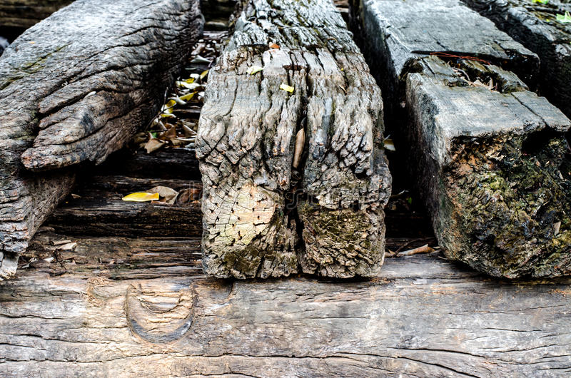 Old pile of track sleeper wooden stack background royalty free stock photo