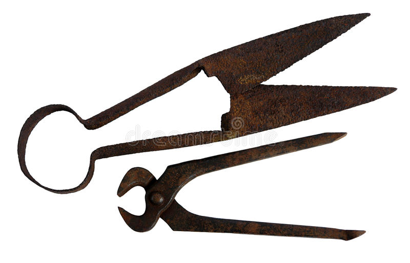 Download Old Pincers  And Scissors On White Stock Image - Image: 33216227