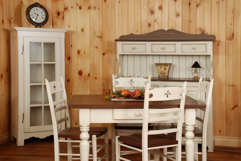 Old pine wood kitchen set stock photo
