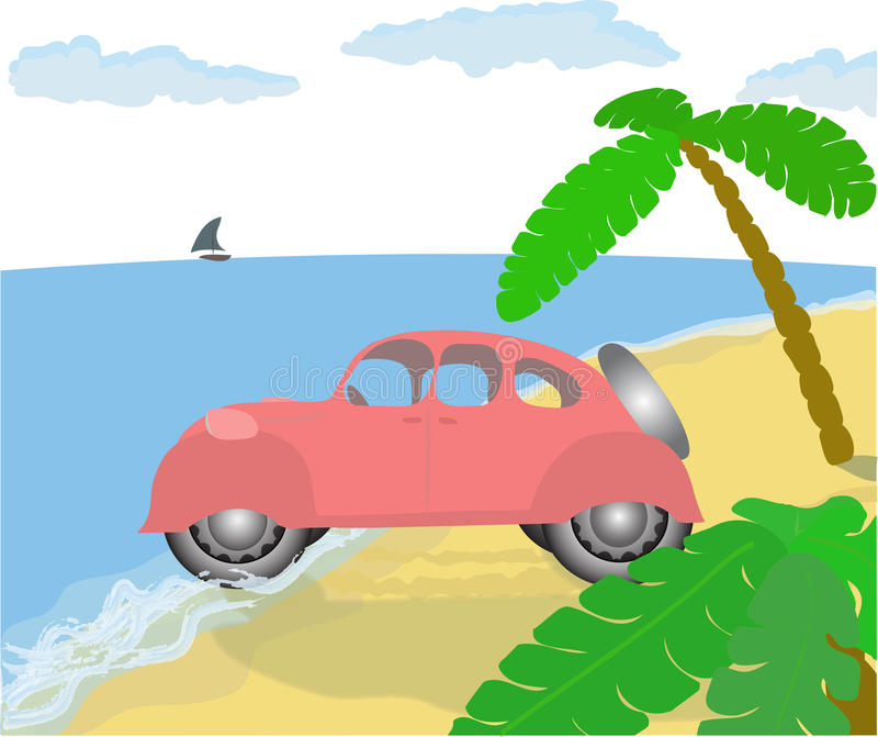 Old Pink Car On The Beach. Stock Photo