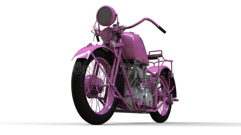 An old pink motorcycle of the 30s of the 20th century. An illustration on a white background with shadows from on a plane. An old pink motorcycle of the 30s of stock illustration