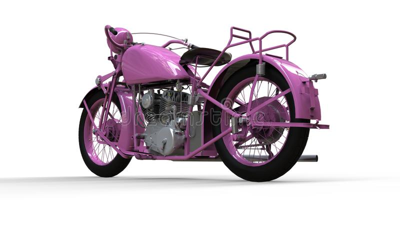 An old pink motorcycle of the 30s of the 20th century. An illustration on a white background with shadows from on a plane. An old pink motorcycle of the 30s of vector illustration