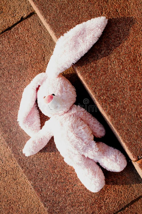 Old pink plush toy hare royalty free stock photo