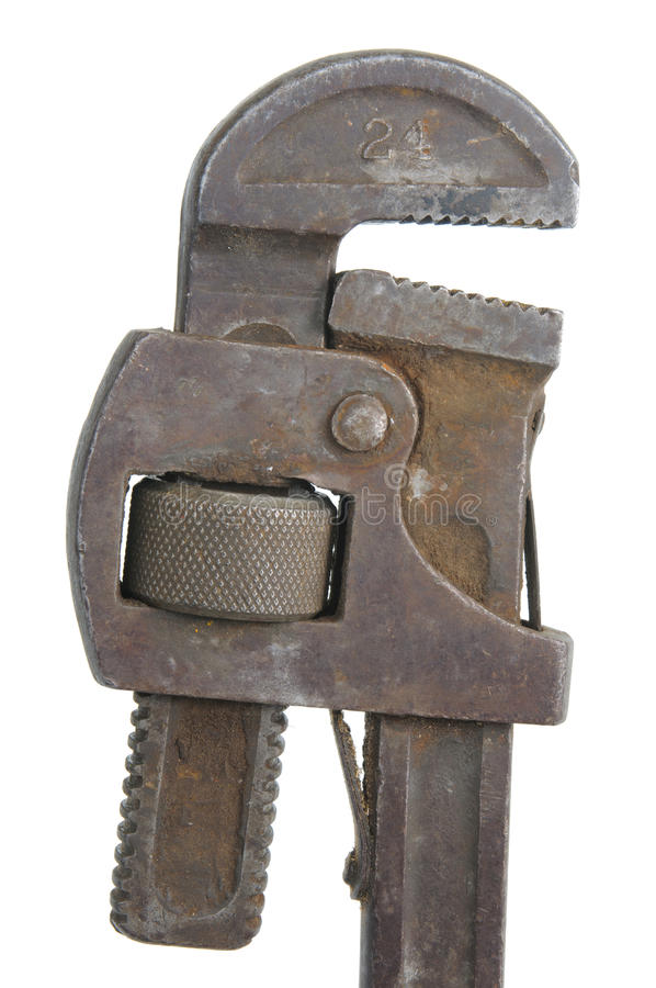 Old pipe wrench stock photography