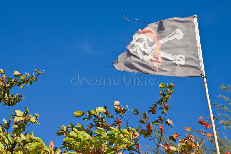 Old pirate flag stock photography