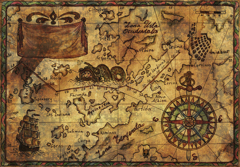Old pirate map with fabric texture effect stock image image of download old pirate map with fabric texture effect stock image image of ancient fish gumiabroncs Images