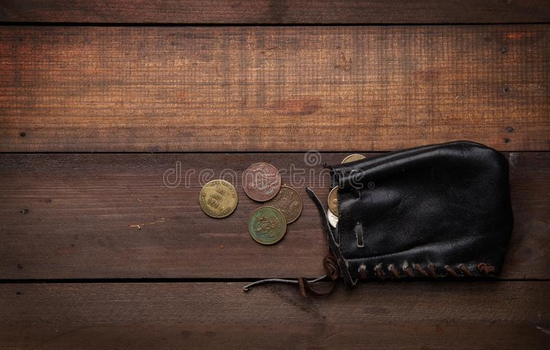 Old pirate purse royalty free stock photo
