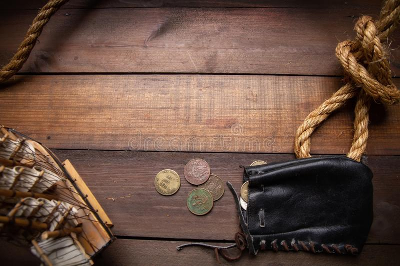 Old pirate purse royalty free stock images