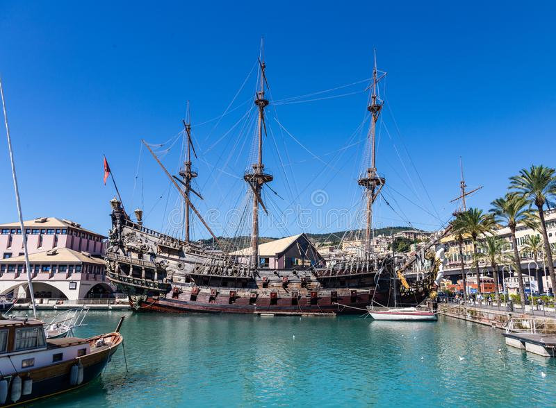 Old pirate ship at berth in the port of Genoa, Italy.  stock photo