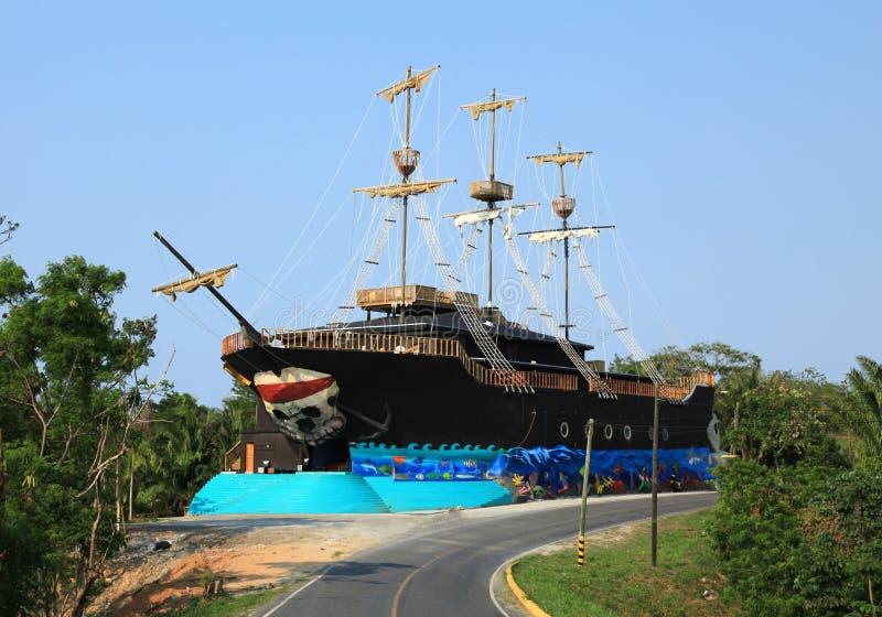Old Pirate Ship in Roatan. Honduras stock photo
