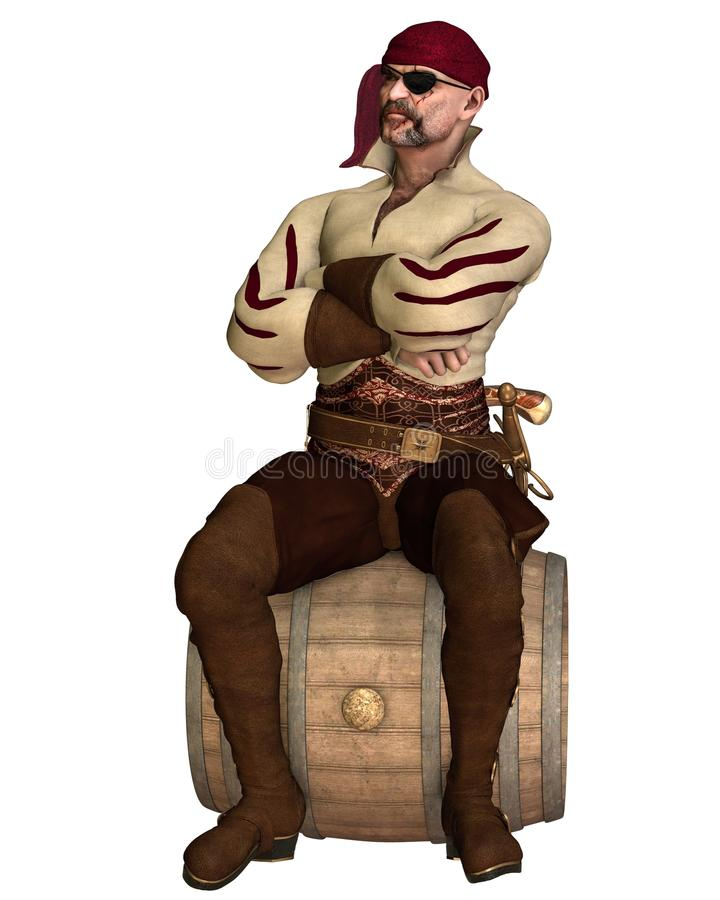 Old Pirate Sitting On A Barrel Stock Photos