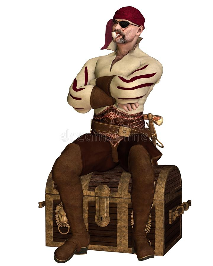 Old Pirate Sitting on a Treasure Chest stock illustration