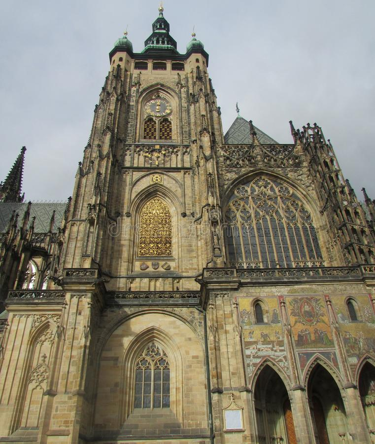 Old Place - the historic center of Prague, a tourist area. St. Vitus Cathedral, side view. Tourism, holidays, sights, impressions for life, history and travel stock images
