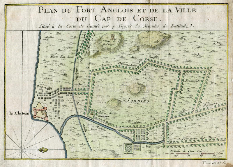 OLD PLAN CAP CORSE GHANA FORT ANGLOIS 1750 royalty free stock image
