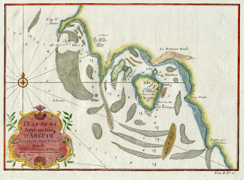 OLD PLAN LA BAYE ET ISLE D`ARGUIM AFRICA MAURITANIA 1747 stock photos
