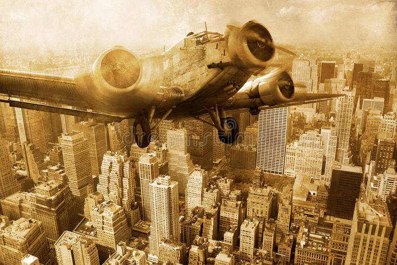 Old plane above Manhattan. An old plane, three-engined aircraft, flies above manhattan on a grunge sepia background