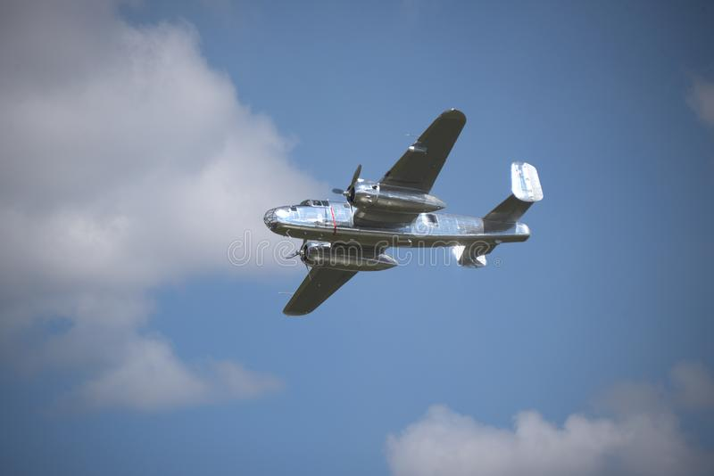 Old plane flying royalty free stock images