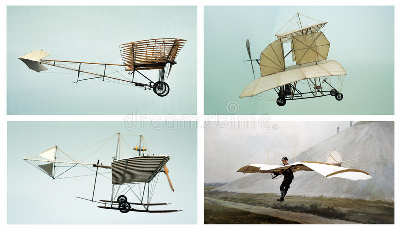 Old planes: air transport collage. This photograph represent a collage of three air vehicles and one with German aeronautical engineer Otto Lillienthal (1848 royalty free illustration