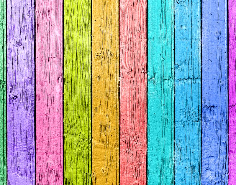 Old planks in the colors of the rainbow. Colorful wood background.  royalty free stock photo
