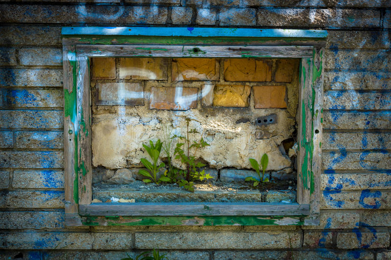 Old plaster walls frame. Toning stock photography