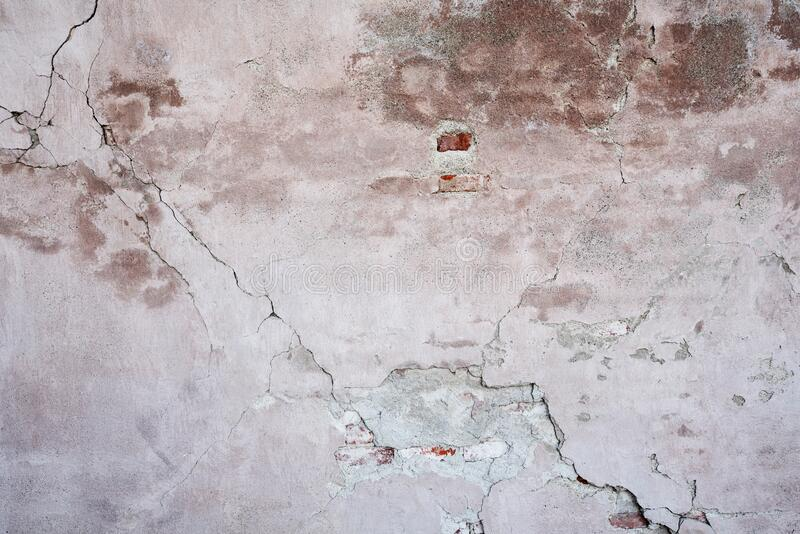 Old plastered brick wall, abstract texture background stock image