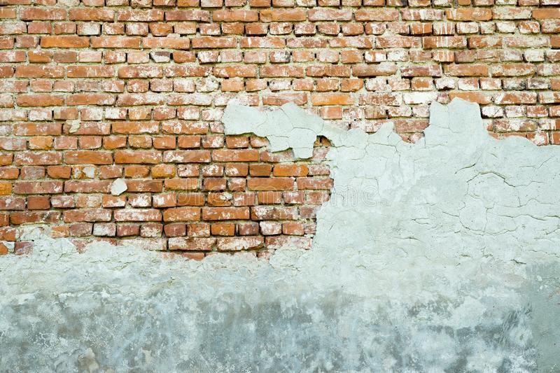 The old plastered brick wall stock photo