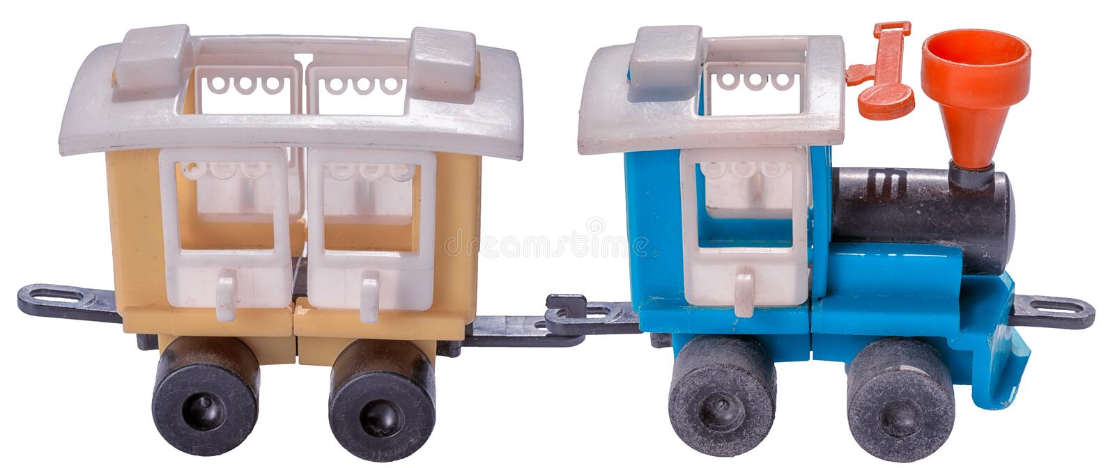 Old plastic toy train isolated royalty free stock photos