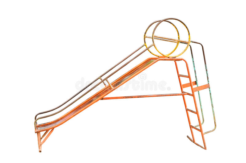 Old playground equipment. On white background,with clipping path royalty free stock photos